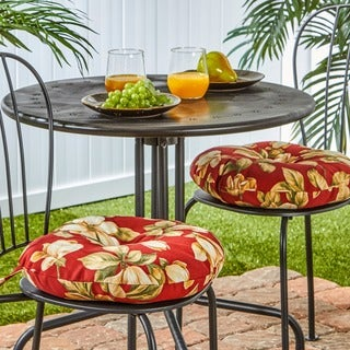 15-inch Round Outdoor Roma Floral Bistro Chair Cushions (Set of 2)