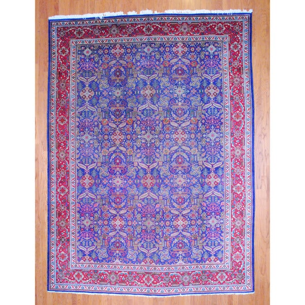 Persian Hand-knotted 1950's Tabriz Navy/ Red Wool Rug (9'10 x 13'5)
