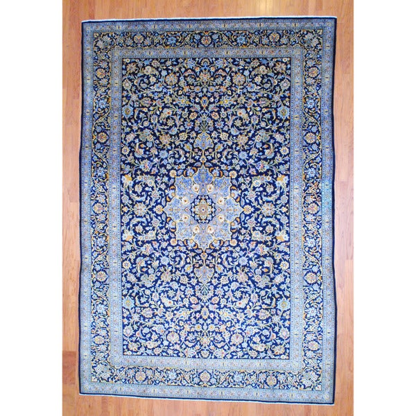 Persian Hand-knotted 1960's Kashan Navy/ Ivory (9'8 x 13'11)