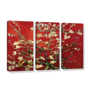 Vincent van Gogh '3-Piece Interpretation in Red Almond Blossom' Gallery-wrapped Canvas