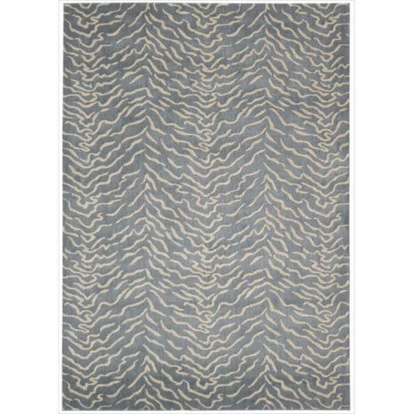 Kailash Animal Print Blue Rug (7'9 x 10'10)
