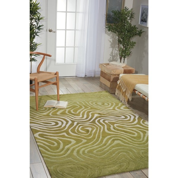 Hand-tufted Contour Abstract Zebra Print Avocado Rug (8' x 10'6)
