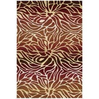 Hand-tufted Contour Abstract Lilies Flame Rug - 7'3 x 9'3
