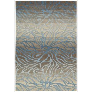 Hand-tufted Contour Abstract Lilies Ocean Sand Rug (7'3 x 9'3)