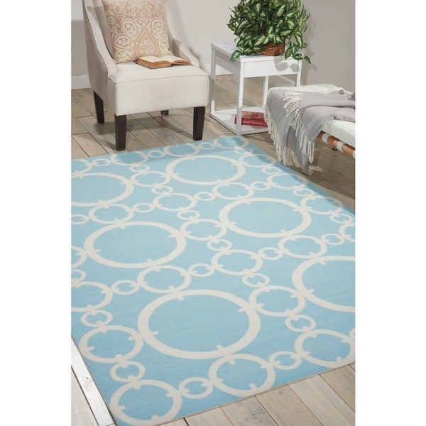 Waverly Sun N' Shade Connected Aquamarine Area Rug by Nourison (7'9 x 10'10) - 7'9 x 10'10
