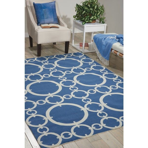 Waverly Sun N' Shade Connected Navy Area Rug by Nourison - 7'9 x 10'10