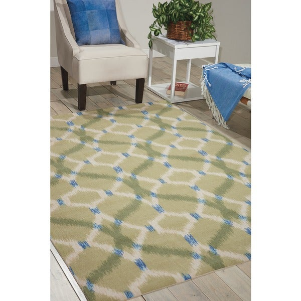 Waverly Sun N' Shade Izmir Ikat Avocado Area Rug by Nourison - 7'9 x 10'10