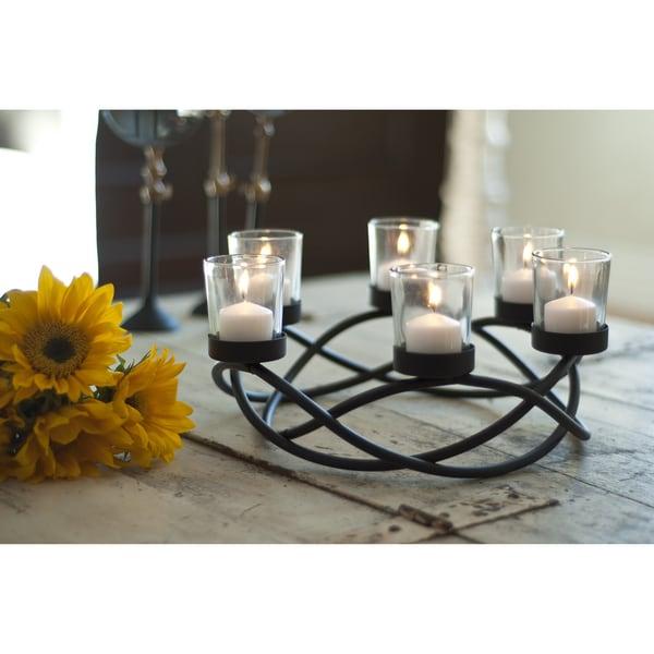 Round Waves Black Wroght Iron Candleholder/ Centerpiece