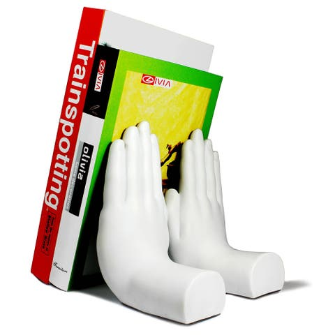 """White """"Hands"""" Bookend Set of 2"""