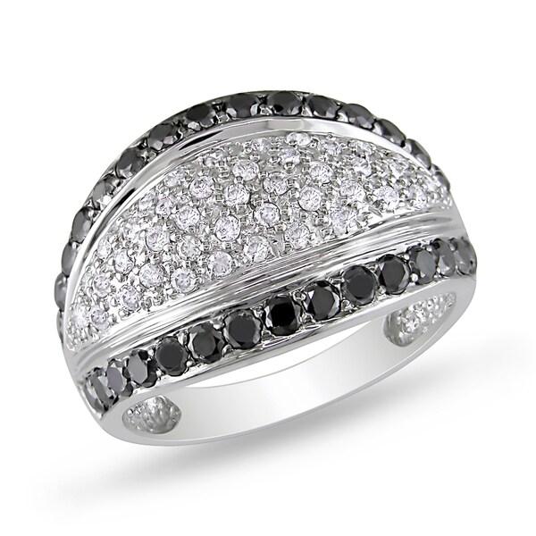 Miadora 14k White Gold 1 1/6ct TDW Black and White Diamond Ring