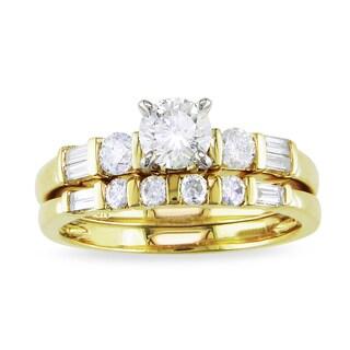 Miadora Signature Collection 10k Yellow Gold 1ct TDW Diamond Bridal Ring Set