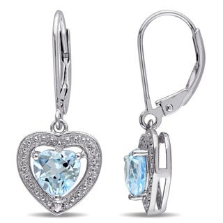 M by Miadora Sterling Silver Blue Topaz and Diamond Accent Earrings