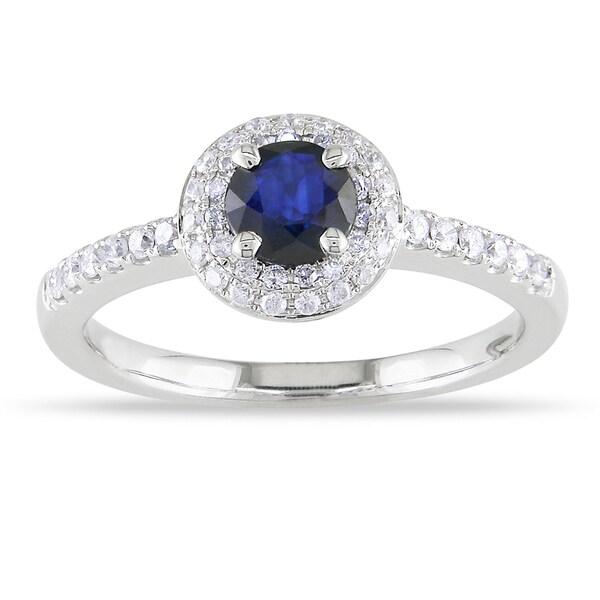 Miadora 14k White Gold Sapphire and 1/4ct TDW Diamond Ring (G-H, I1-I2)