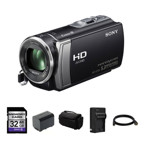 Sony HDR-CX190 High Definition Handycam Black Camcorder 32GB Bundle