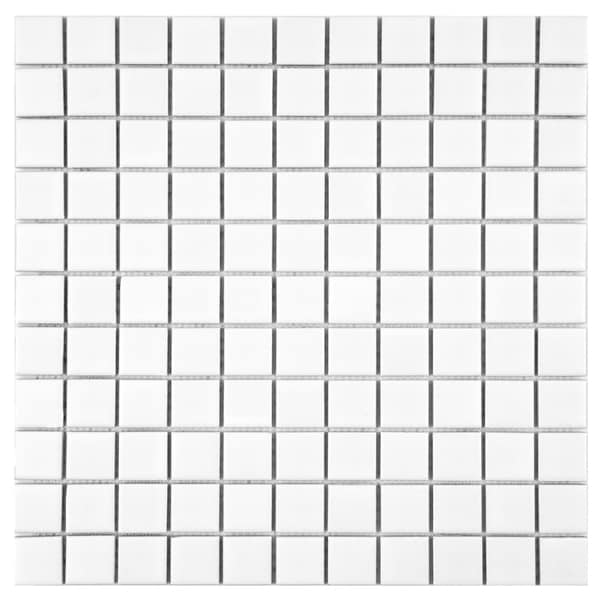SomerTile 11.75 x 11.75-inch Victorian Matte White Porcelain Mosaic Floor and Wall Tile (Case of 10)