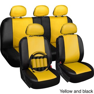 Oxgord Faux Leather PVC 17-piece Universal Fit Seat Cover Set (Option: Yellow)