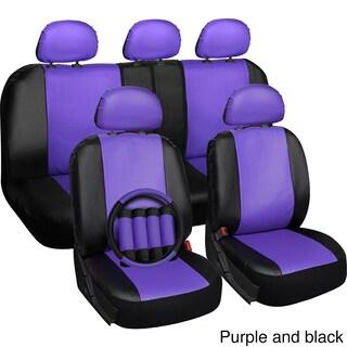 OxGord Faux-leather PVC 17-piece Universal-fit Seat Cover Set
