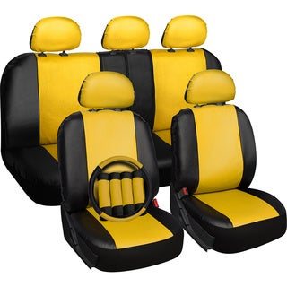 OxGord Faux-leather PVC 17-piece Universal-fit Seat Cover Set