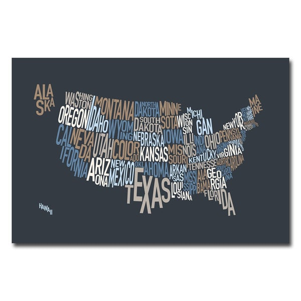 Michael Tompsett US States Text Map Canvas Art Free Shipping - Us map canvas