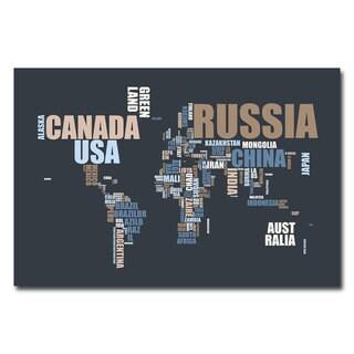 Michael Tompsett 'World Text Map' Horizontal Canvas Art
