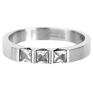 Stainless Steel Triple Square-cut Cubic Zirconia Band - Silver