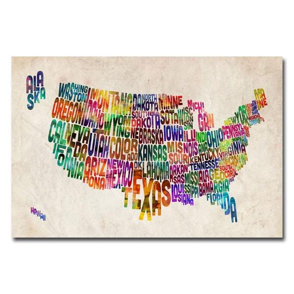 Michael Tompsett United States Text Map canvas art Free