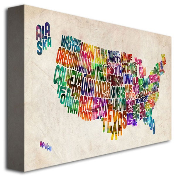 Michael Tompsett United States Text Map Canvas Art Free - Us map canvas