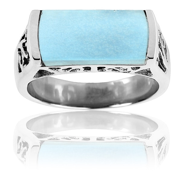 Stainless Steel Rectangle Turquoise Ring