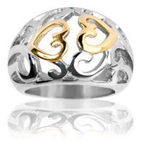 Gold Plated Stainless Steel Vintage Heart Swirl Ring - Multicolor