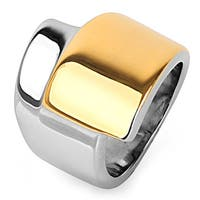 Gold Plated Stainless Steel Overlap Design Ring - Multicolor