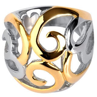Gold Plated Stainless Steel Swirl Heart Ring - Multicolor