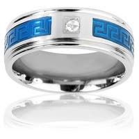 Stainless Steel Cubic Zirconia Blue-plated Maze Inlay Ring