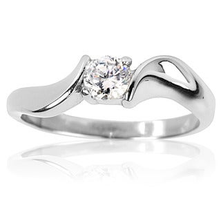 Stainless Steel Cubic Zirconia Solitaire Twist Frame Ring