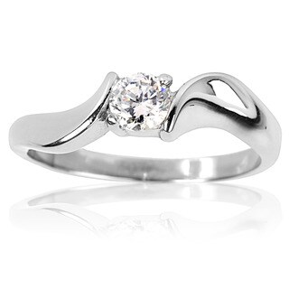 Stainless Steel Cubic Zirconia Solitaire Twist Frame Ring - Silver