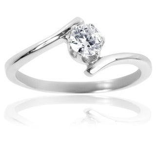Stainless Steel Solitaire Cubic Zirconia Swirl Frame Ring