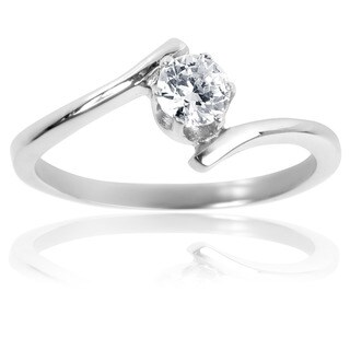Stainless Steel Solitaire Cubic Zirconia Swirl Frame Ring - Silver