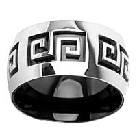 Black-plated Stainless Steel Grooved Maze Center Ring