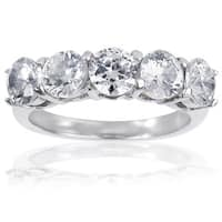 Stainless Steel Round Cubic Zirconia Ring - Silver