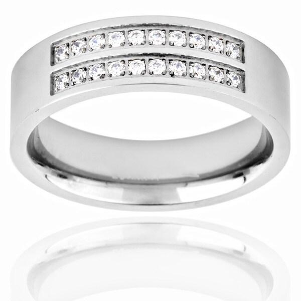 Men's Titanium Cubic Zirconia Double Stripe Ring