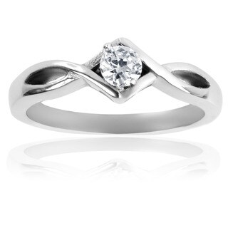 Stainless Steel Cubic Zirconia Solitaire Knotted Frame Ring - Silver