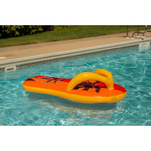 Blue Wave Tropical Flip Flop 71-inch Inflatable Pool Float - Orange/Yellow