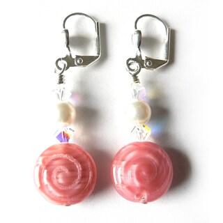 'LeeAnne' Pink Swirl Dangle Earrings