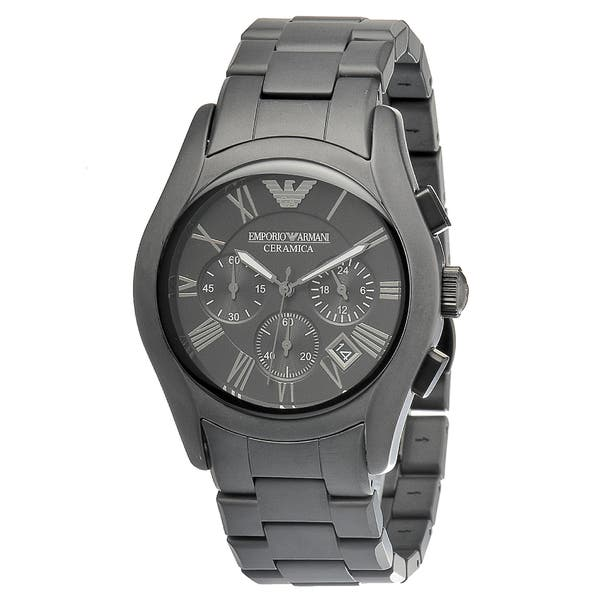 32e360bef Shop Emporio Armani Men's 'Ceramica' Black Chronograph Watch - Free ...