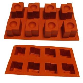 Squared Disk Cake 8-cavity Silicone Mold/ Baking Pan