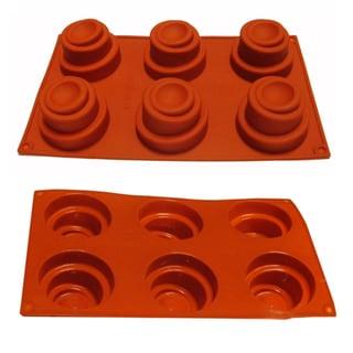 Universal Swirl Cake Design 6-cavity Red Silicone Mold/ Baking Pan