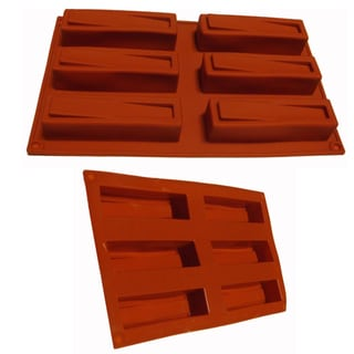 Universal Narrow Loaf Design 6-cavity Red Silicone Mold/ Baking Pan