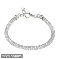La Preciosa Sterling Silver 'Hidden' Crystal Mesh Bracelet