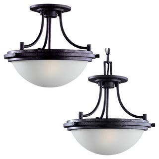 Flush mount ceiling lights for less overstock winnetka 2 light ceiling semi flush pendant light fixture mozeypictures Gallery