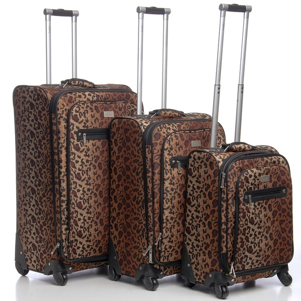 Nicole Miller 'Spot Check' 3-piece Expandable Spinner Luggage Set