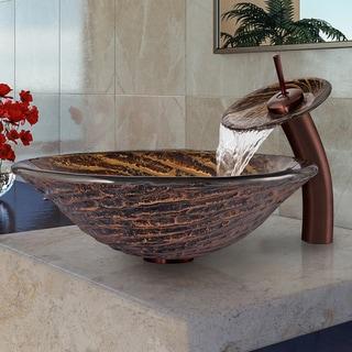 Vigo Chocolate Caramel Swirl Glass Vessel Sink and Waterfall Faucet Set
